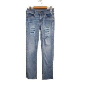 American Eagle Straight Cut Ripped Stretch Jeans